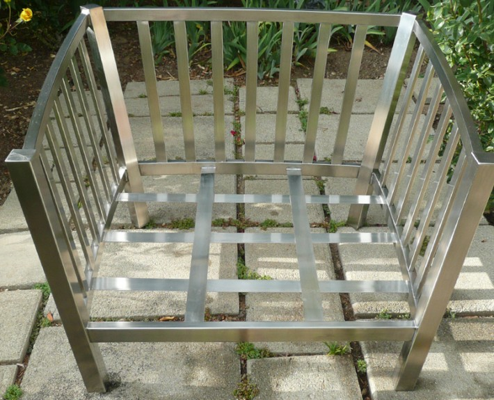 Stainless steel chair frame with side rails