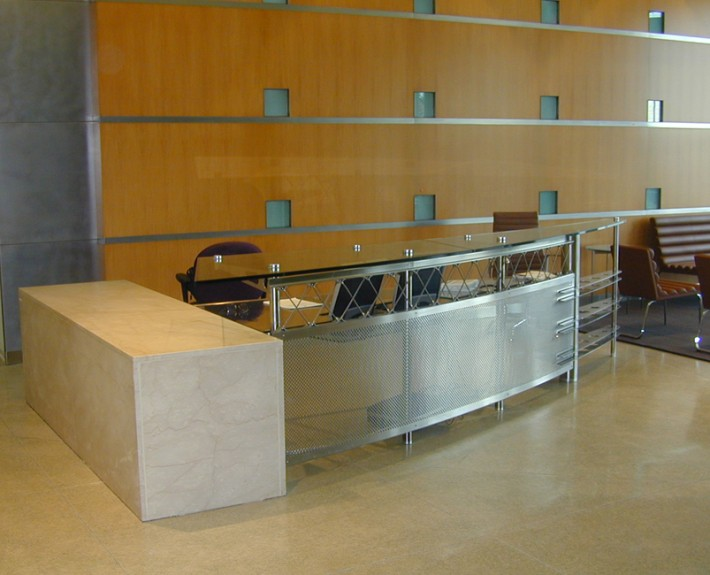 Desk and stone counter unit installed on-site