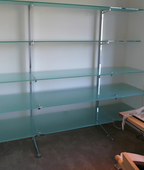 Glass and stainless steel custom shelving