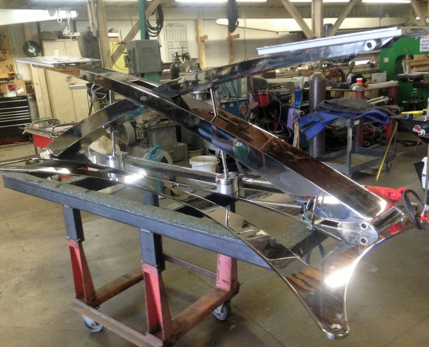 Motorized Desk base mechanism made of mirror-polished Stainless