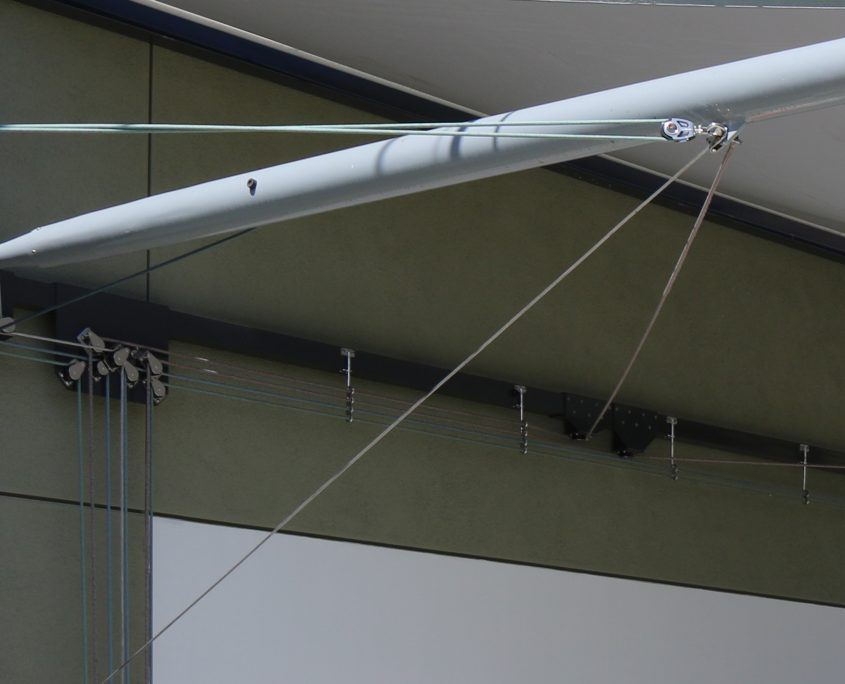 Retractable Awning Designed by Geoffrey von Oeyen | Rigging and Installation by Dave McCalley